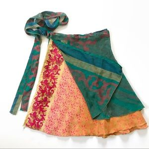 Silk Sari Reversible Wrap Around Skirt